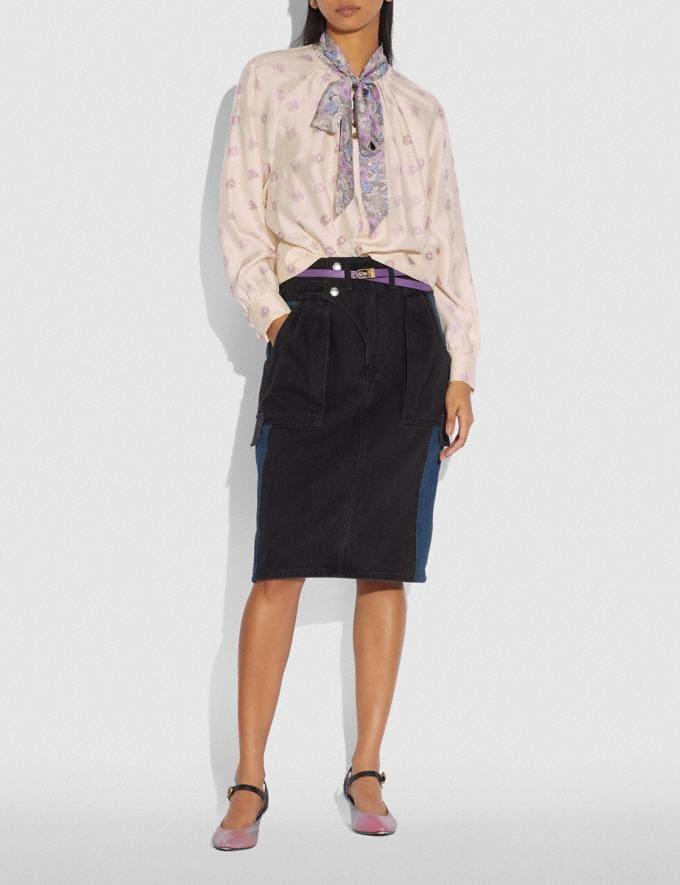 Coach Tie Neck Blouse Pink/Grey Women Ready-to-Wear Tops Alternate View 1