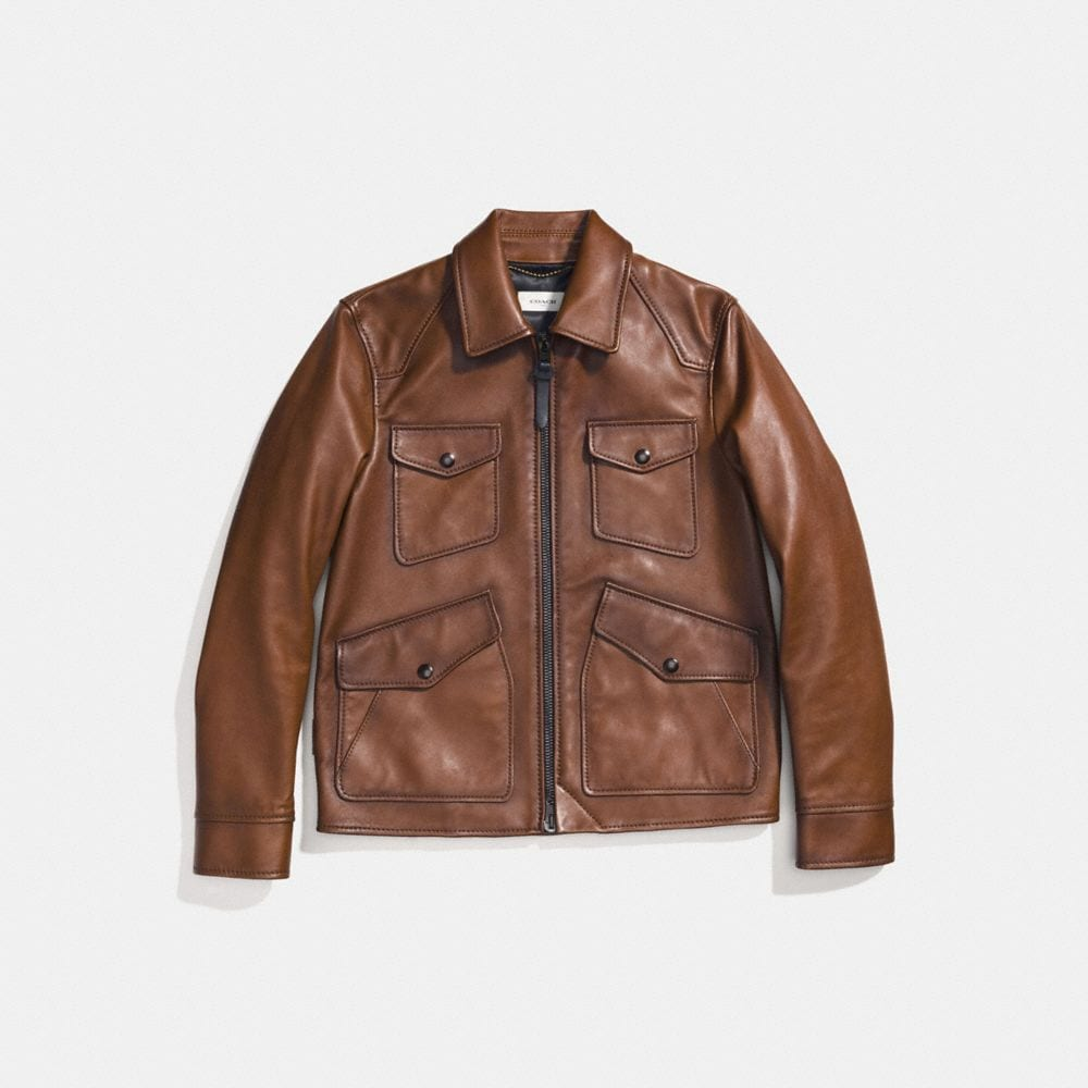 burnished leather four pocket jacket