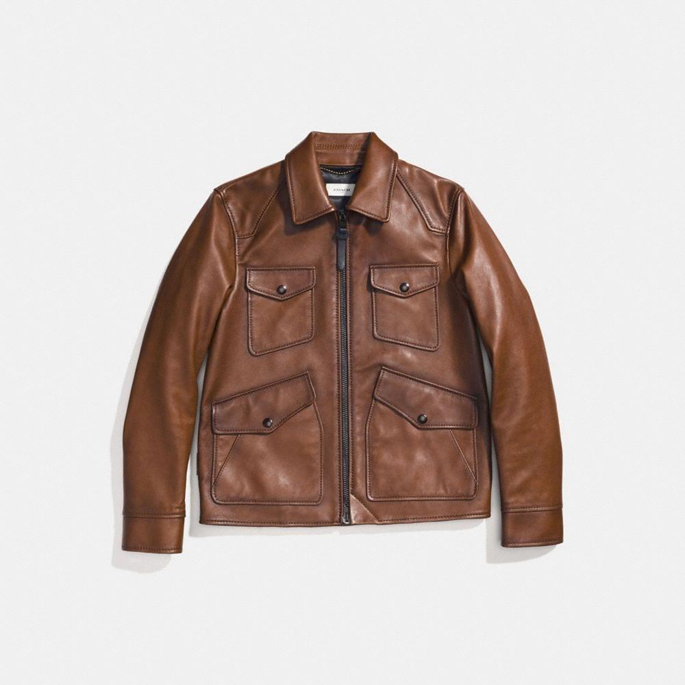 Coach Burnished Leather Four Pocket Jacket