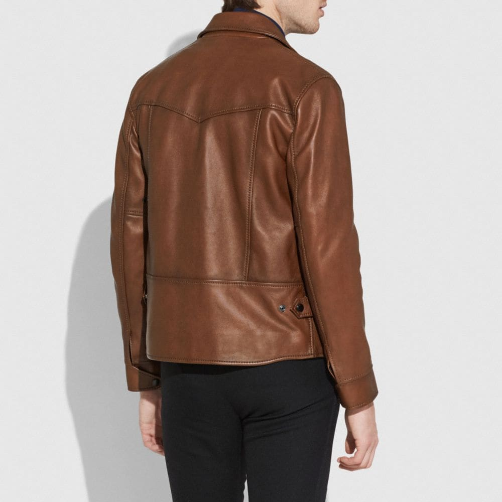 Coach Burnished Leather Four Pocket Jacket Alternate View 2