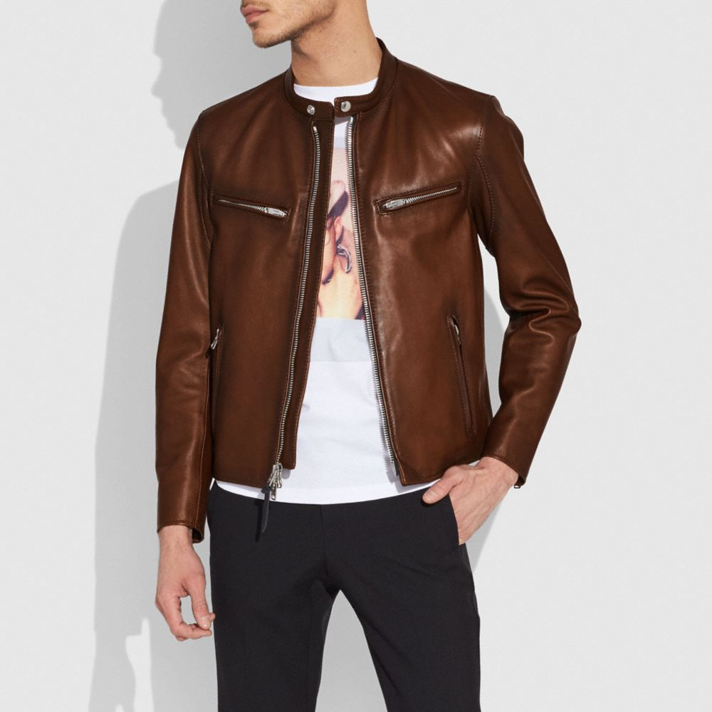 Coach Leather Racer Jacket Alternate View 1