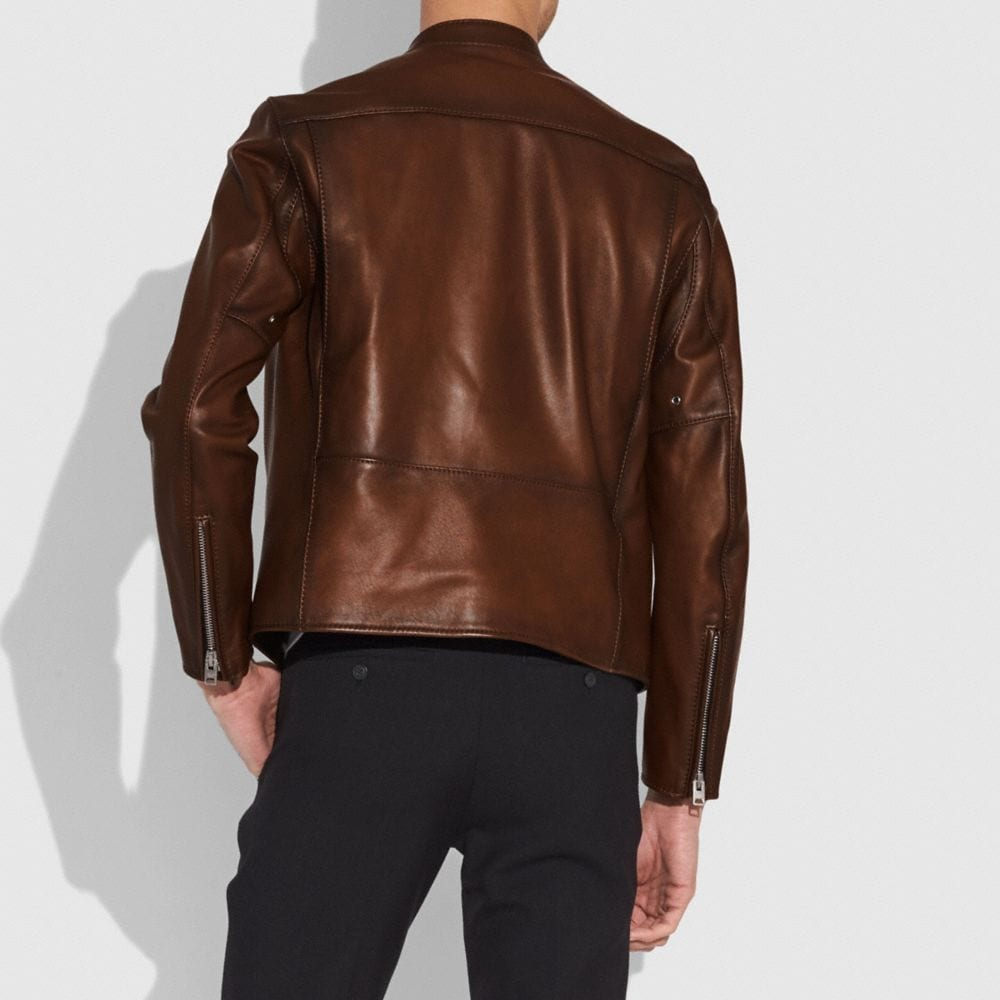 Coach Leather Racer Jacket Alternate View 2