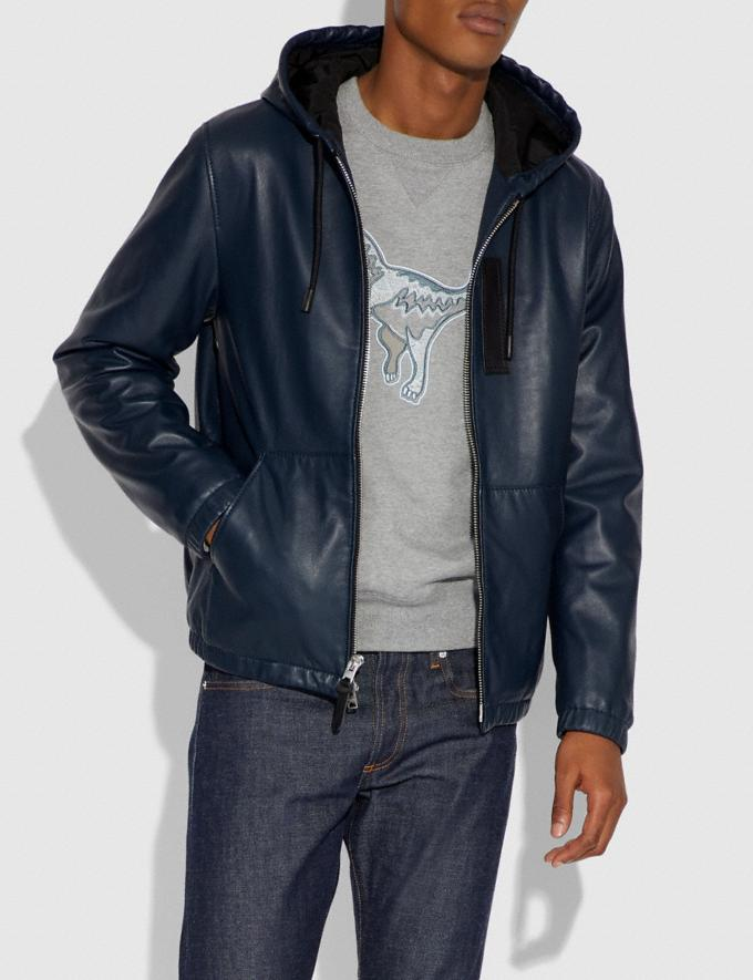 Coach Hooded Leather Jacket Darkest Navy Men Ready-to-Wear Jackets & Outerwear Alternate View 1