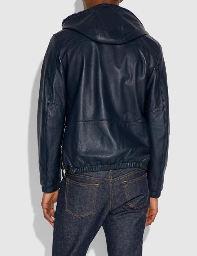 Coach Hooded Leather Jacket Darkest Navy Men Ready-to-Wear Jackets & Outerwear Alternate View 3