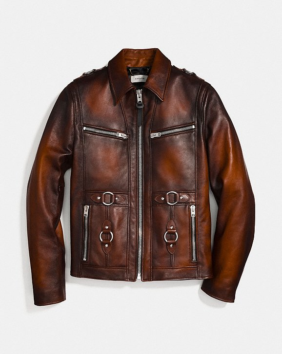 Coach Burnished Leather Sheriff Jacket