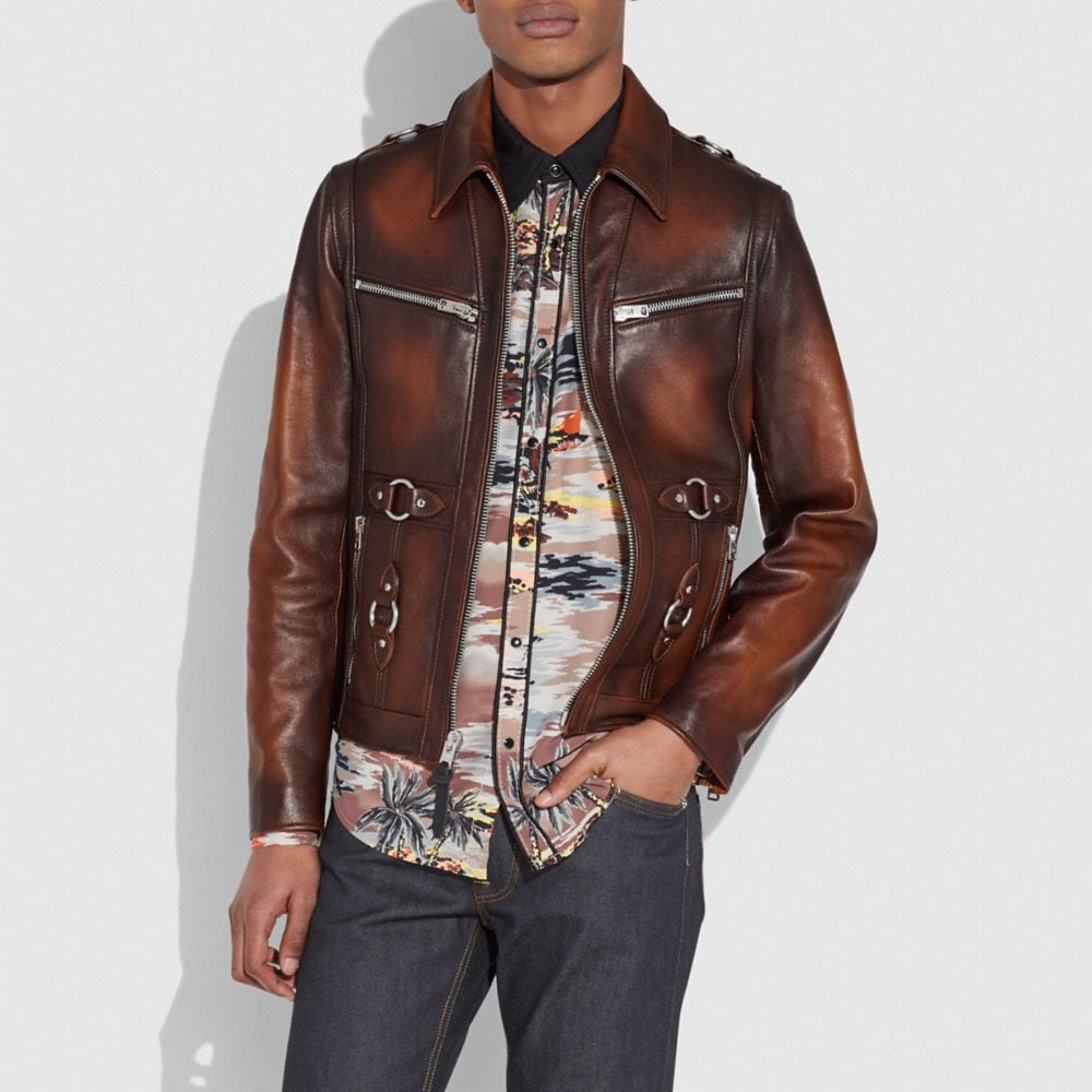 Coach Burnished Leather Sheriff Jacket Alternate View 1