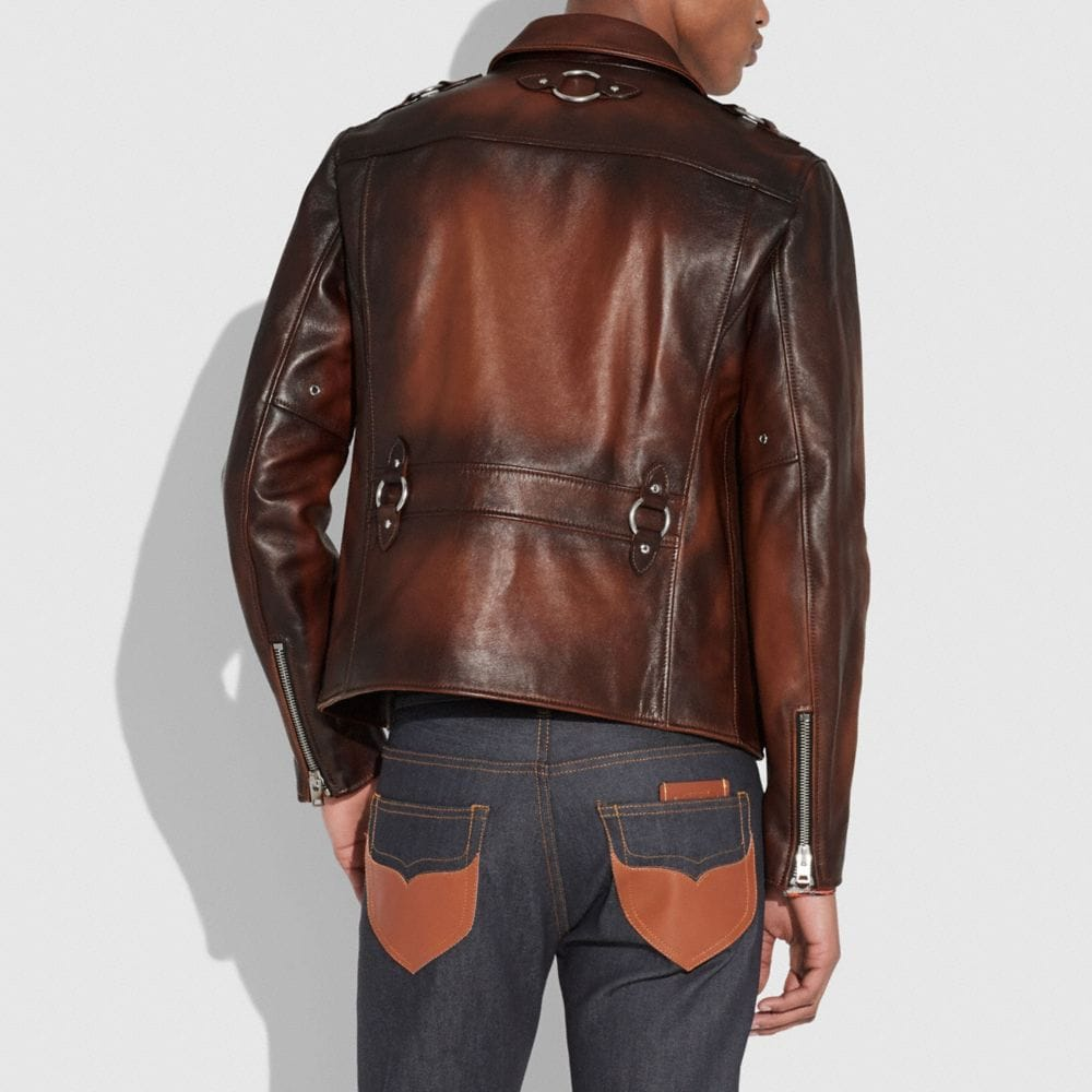 Coach Burnished Leather Sheriff Jacket Alternate View 2