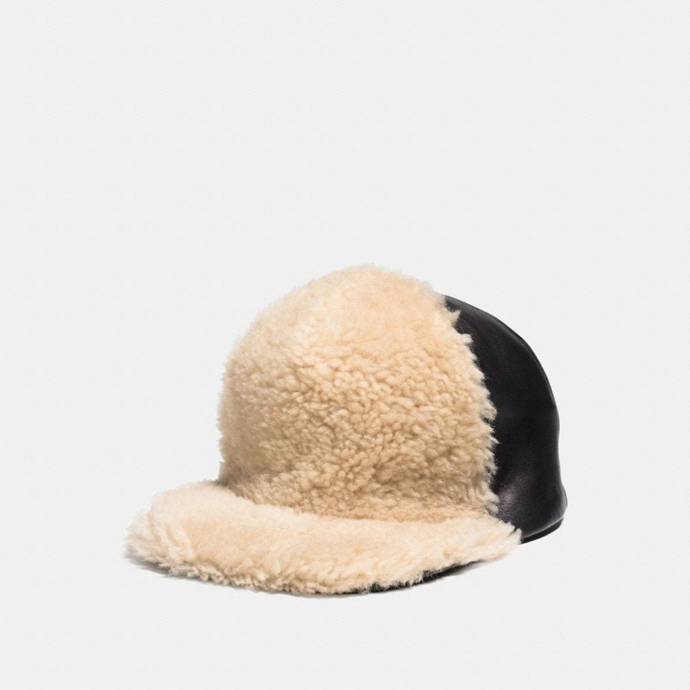 Coach Shearling Leather Trucker Hat