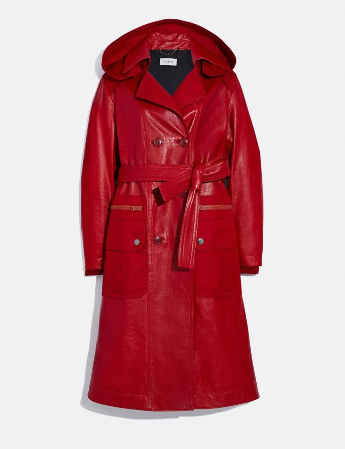 Coach Leather Trench With Ruching Detail Red