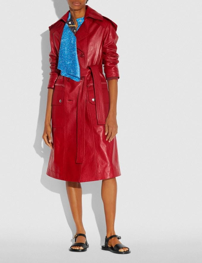 Coach Leather Trench With Ruching Detail Red  Alternate View 1