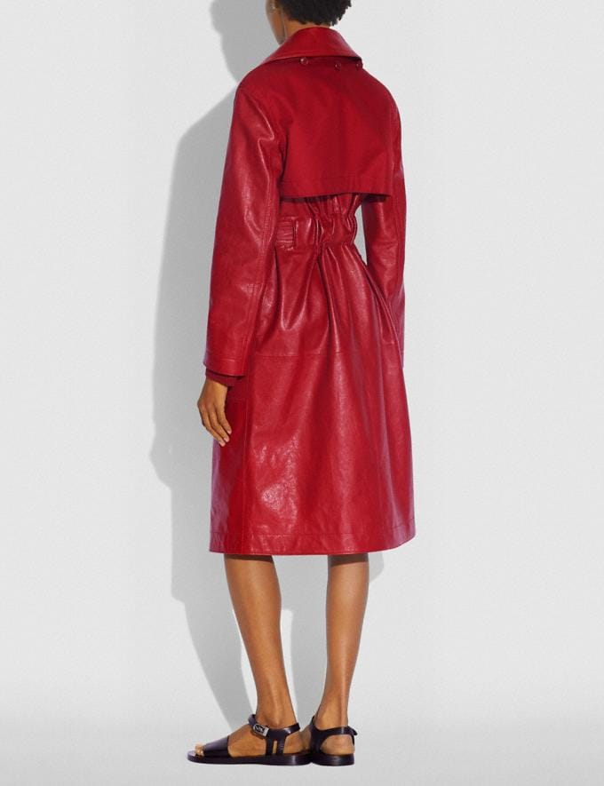 Coach Leather Trench With Ruching Detail Red Women Ready-to-Wear Coats & Jackets Alternate View 2