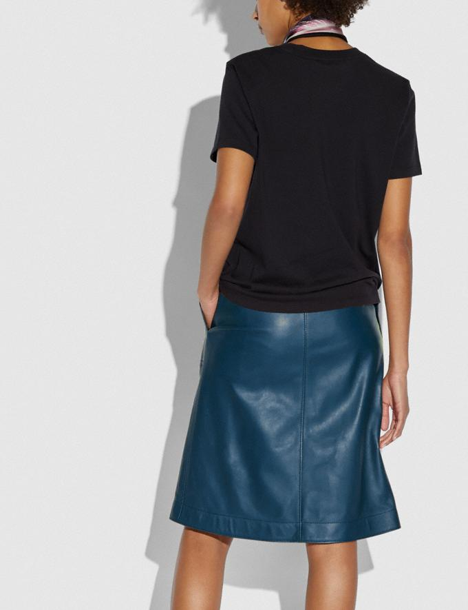 Coach Leather Skirt With Turnlocks Almost Navy Women Ready-to-Wear Bottoms Alternate View 2