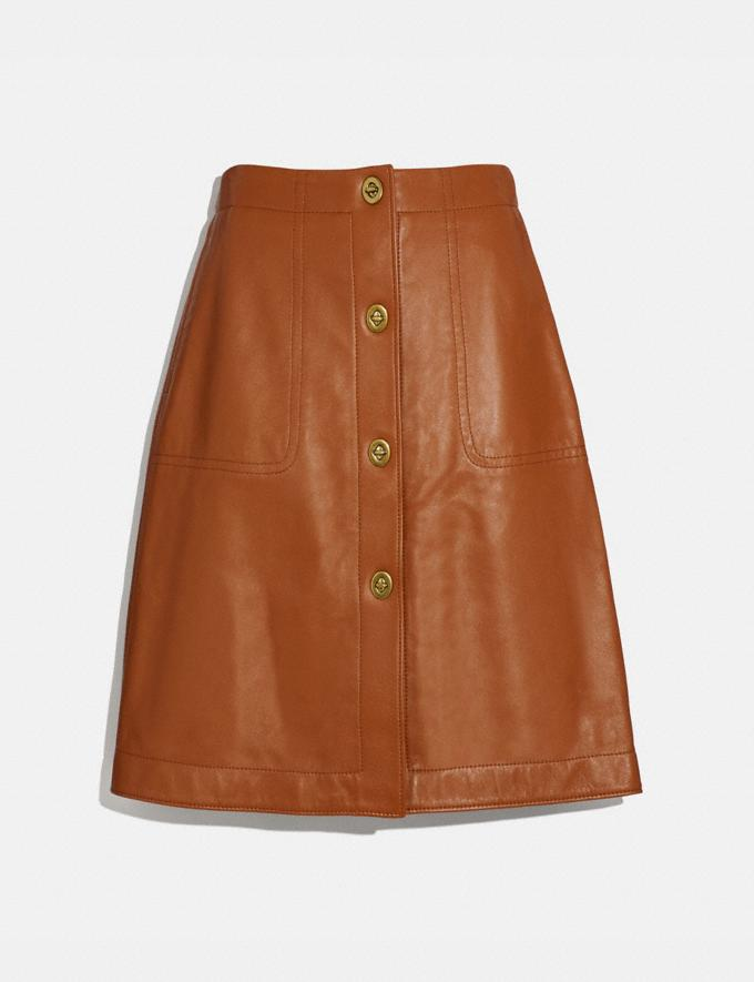 Coach Leather Skirt With Turnlocks Dark Caramel Women Ready-to-Wear Bottoms