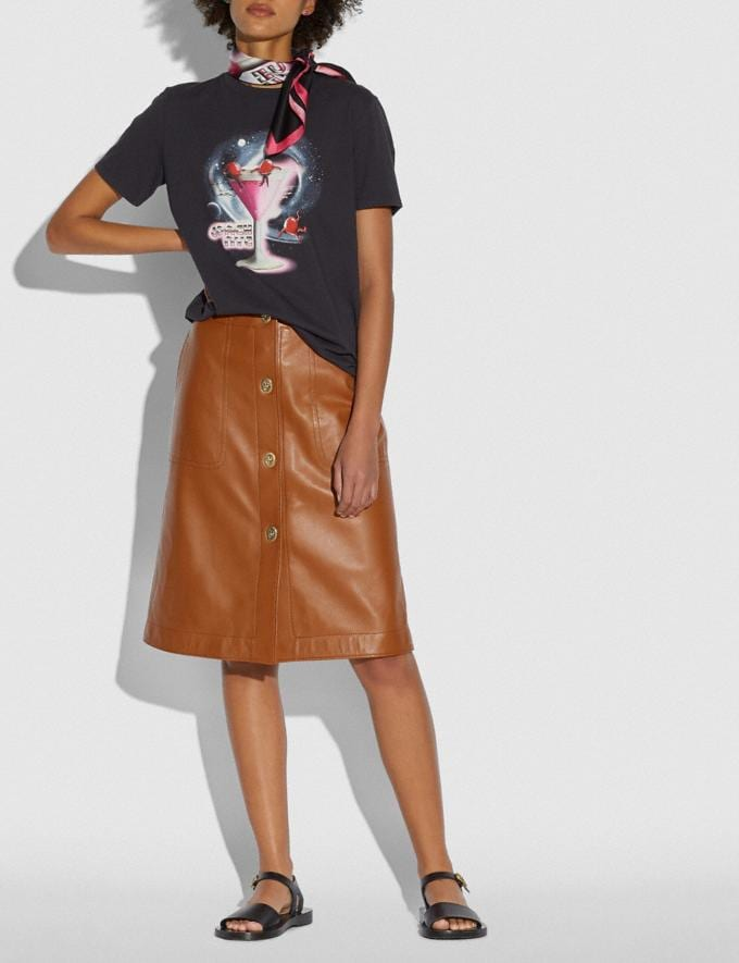 Coach Leather Skirt With Turnlocks Dark Caramel New Featured Coach X J.Lo Alternate View 1