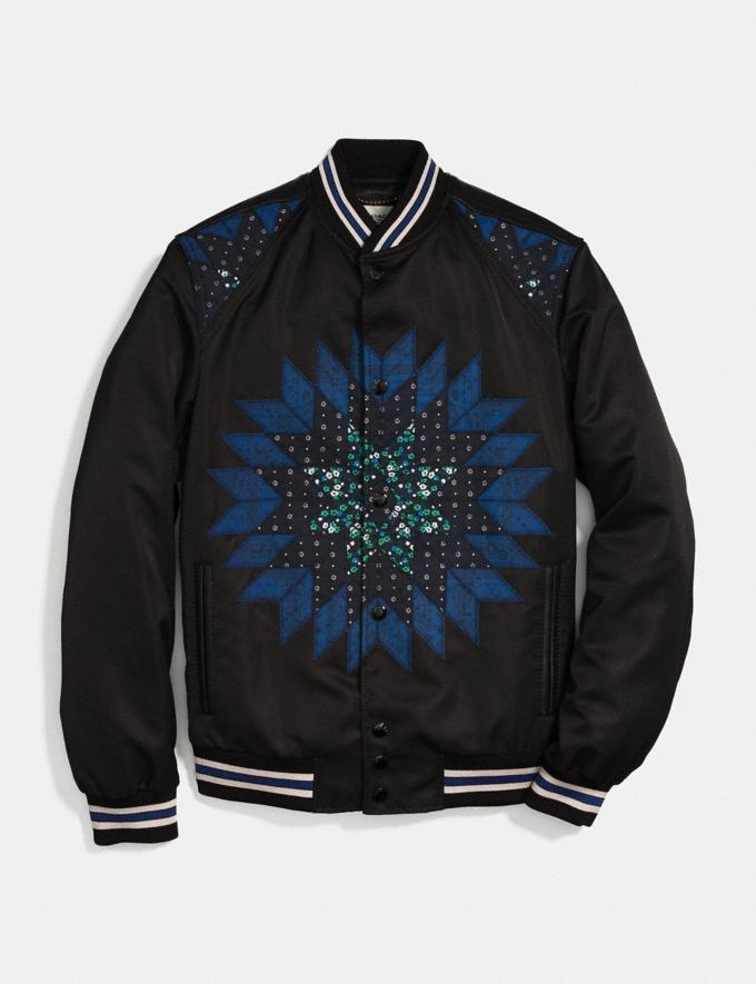 Coach Patchwork Varsity Jacket Black Multi Men Ready-to-Wear Coats & Jackets
