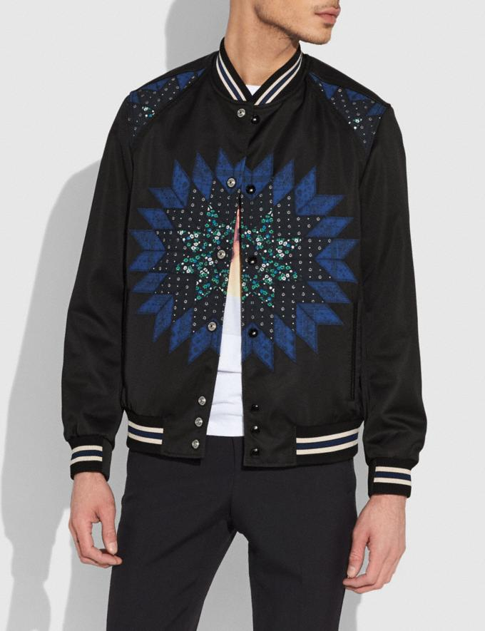 Coach Patchwork Varsity Jacket Black Multi Men Ready-to-Wear Coats & Jackets Alternate View 1
