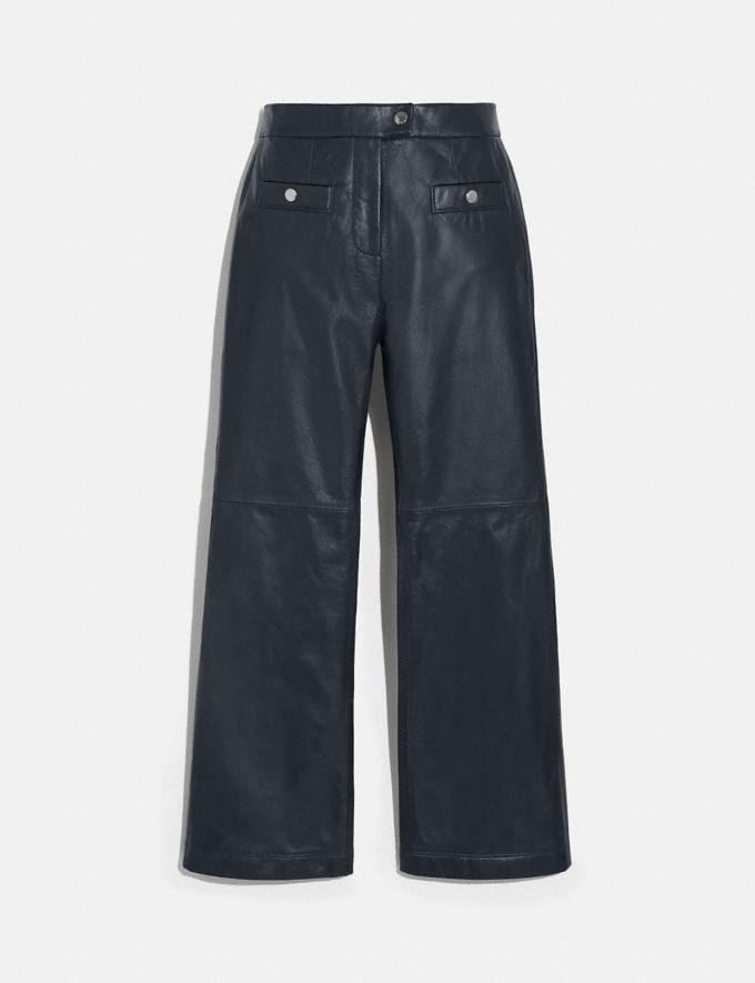 Coach Leather Pants Navy Women Ready-to-Wear Bottoms