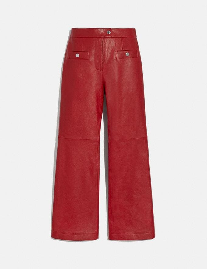 Coach Leather Pants Red