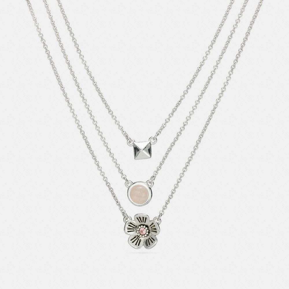Coach Tea Rose Multi Chain Necklace