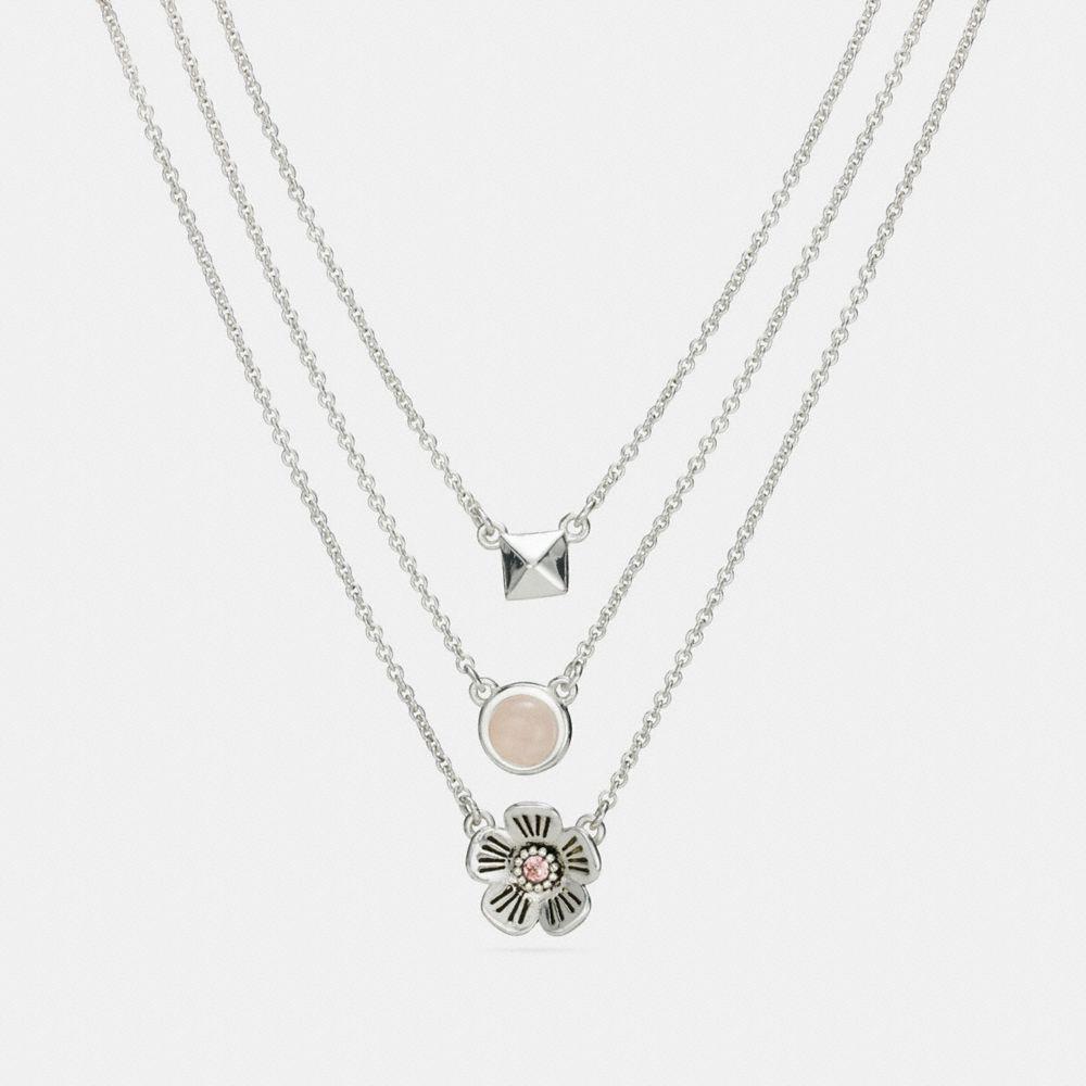 Coach Tea Rose Multi Chain Necklace