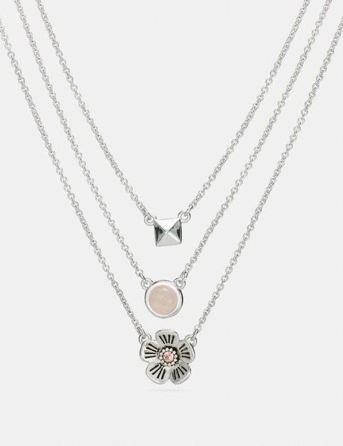 Coach Tea Rose Multi Chain Necklace Multi/Silver