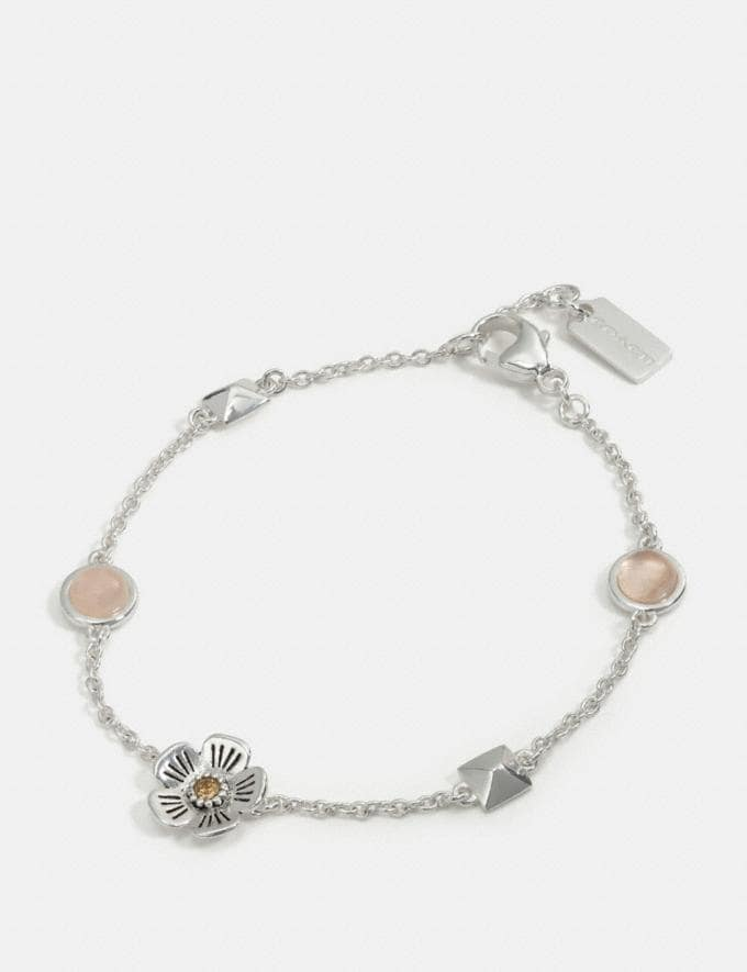 Coach Tea Rose Stud Chain Bracelet Multi/Silver Women Accessories Jewellery Bracelets