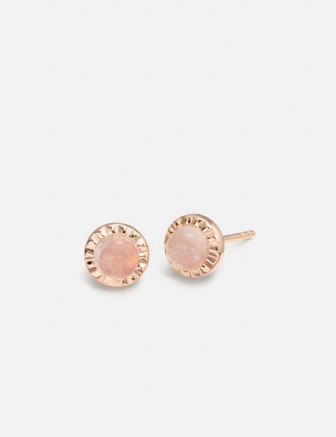 Coach Demi-Fine Sunburst Stone Earrings Pink Quartz/Rosegold