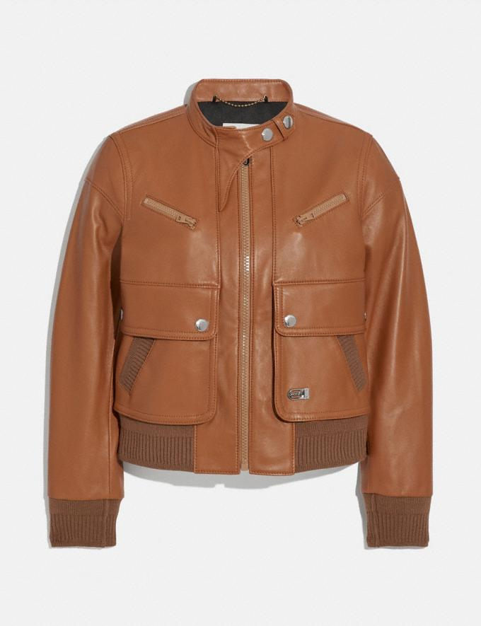 Coach Leather Bomber Jacket Dark Caramel Women Ready-to-Wear Coats & Jackets