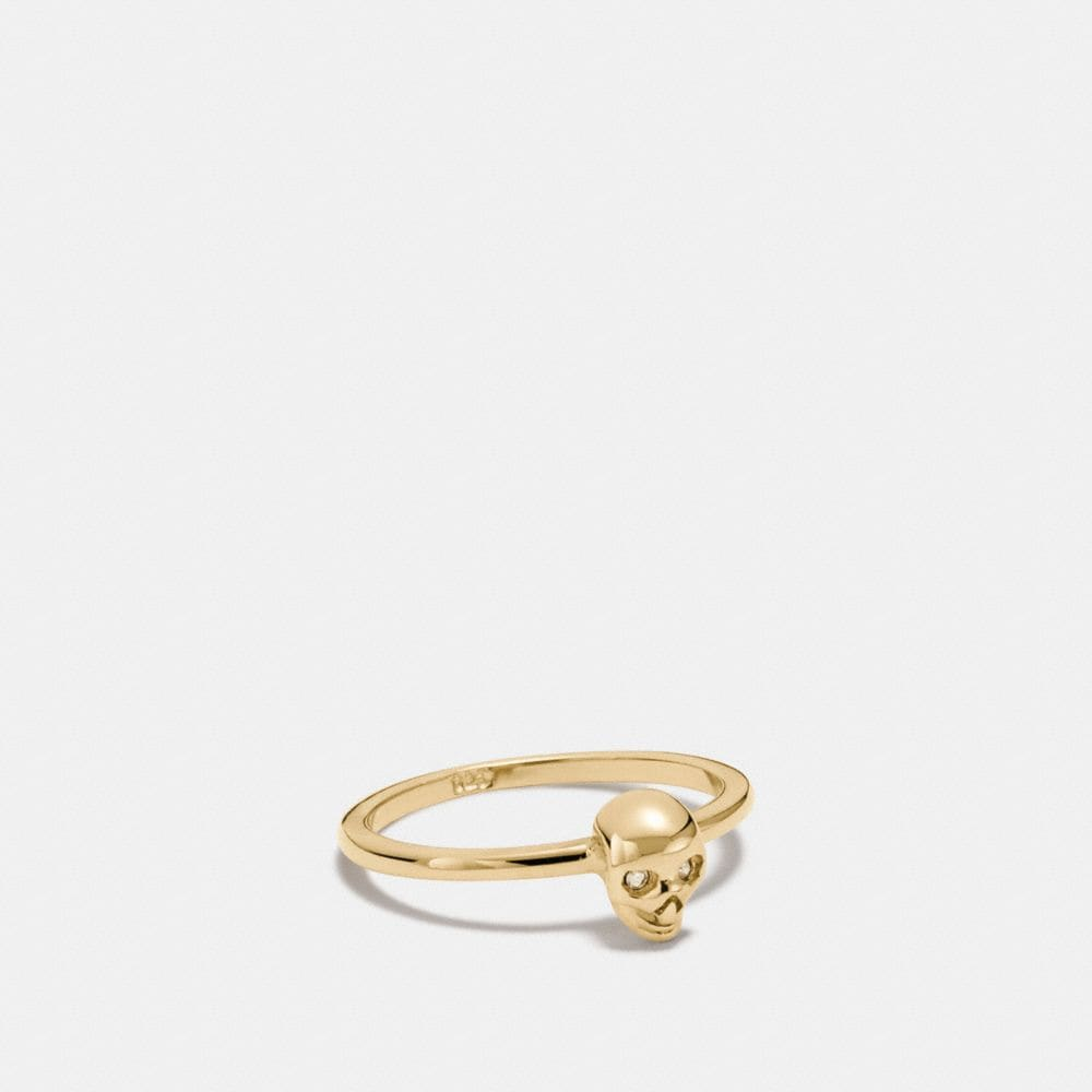 mini 18k gold plated skull ring