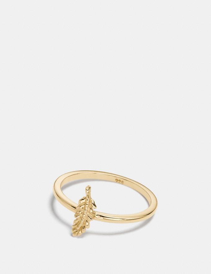 Coach Mini Demi-Fine Feather Ring Gold