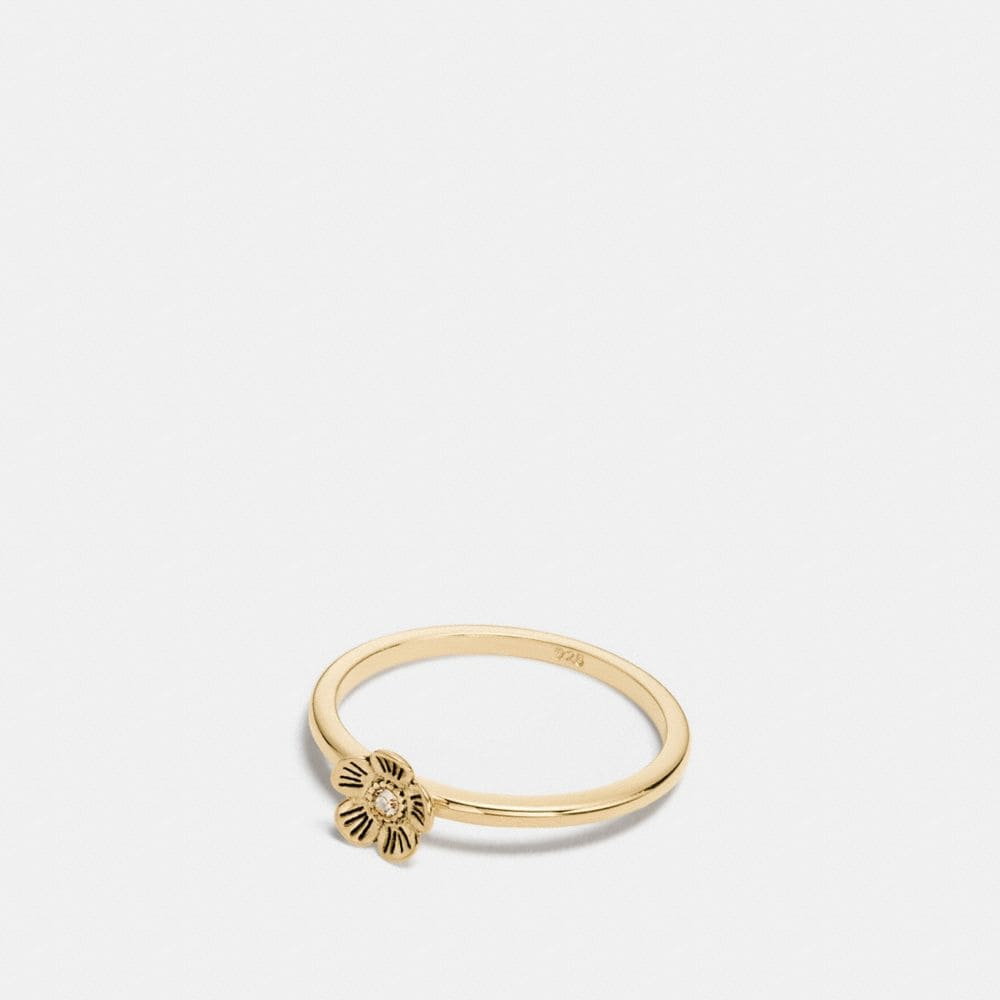 Coach Mini 18k Gold Plated Tea Rose Ring