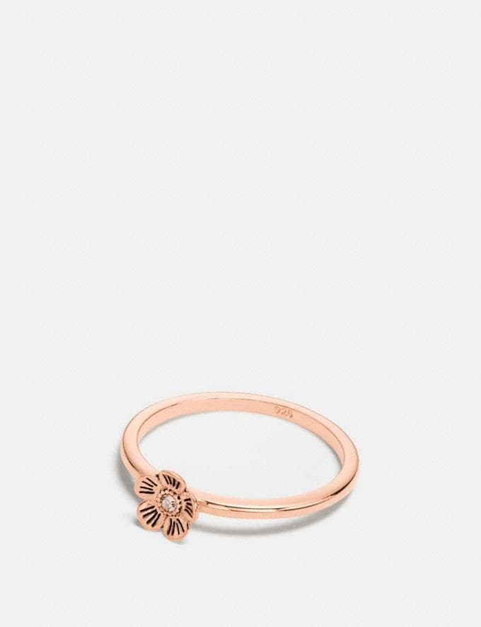Coach Mini 18k Gold Plated Tea Rose Ring Rosegold CYBER MONDAY SALE Women's Sale Jewellery