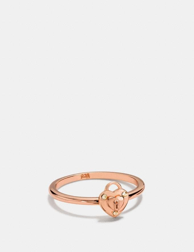 Coach Mini Demi-Fine Padlock Heart Ring Rosegold