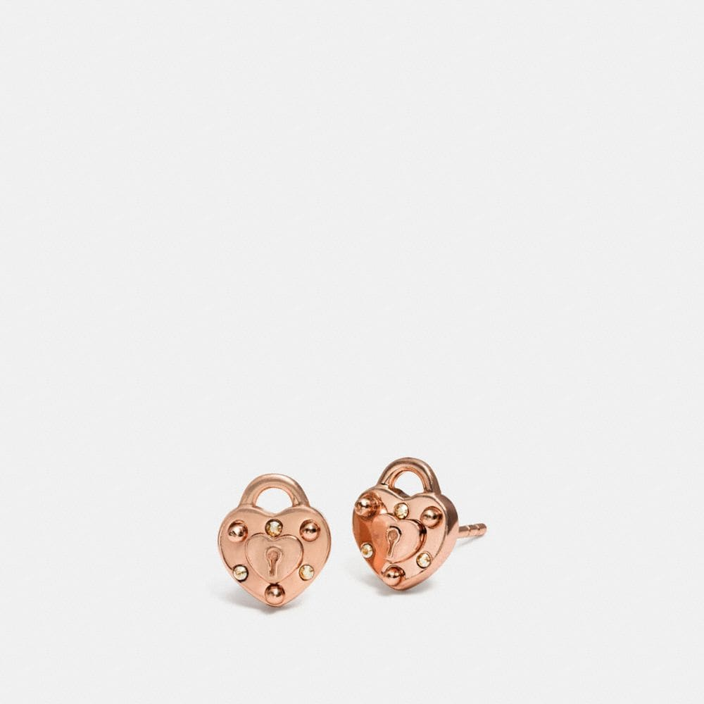 MINI DEMI-FINE PADLOCK HEART STUD EARRINGS