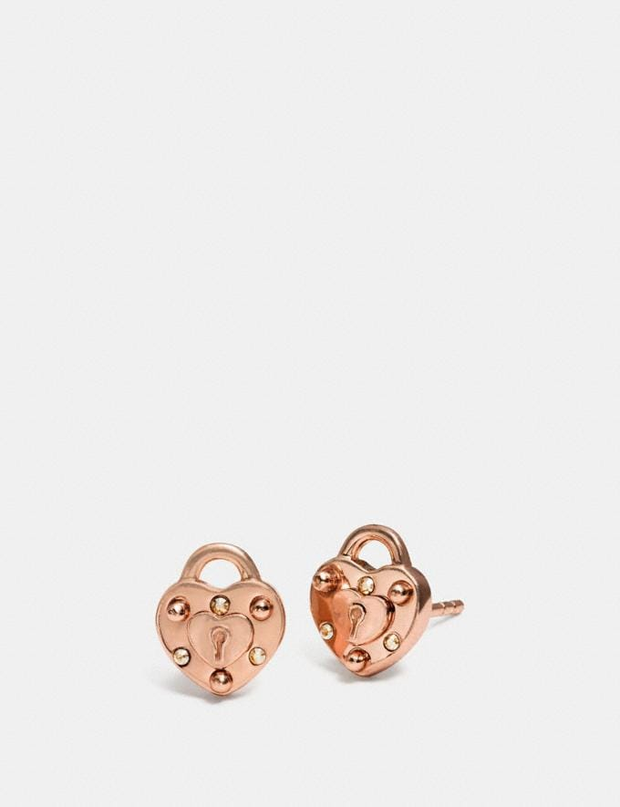 Coach Mini Demi-Fine Padlock Heart Stud Earrings Rosegold Women Accessories Jewelry Earrings