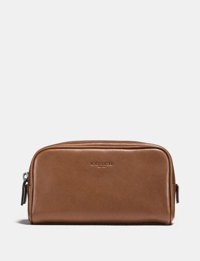 Coach Dopp Kit 18 Dark Saddle Men Accessories Travel
