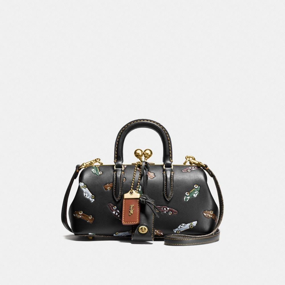 KISSLOCK SATCHEL IN GLOVETANNED LEATHER WITH COLORBLOCK CAR AND REXY PRINT