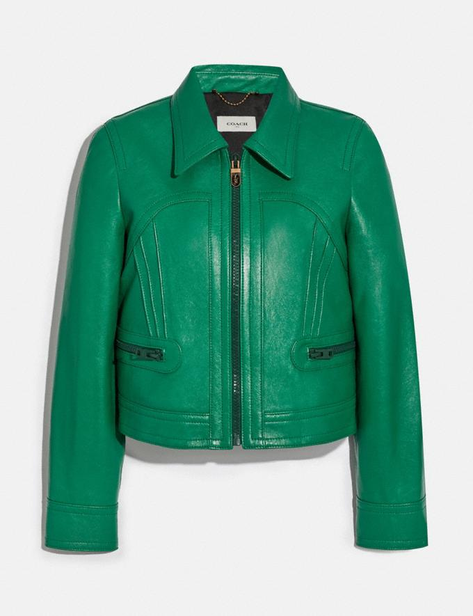 Coach Cropped Leather Blouson Green New Women's New Arrivals Ready-to-Wear