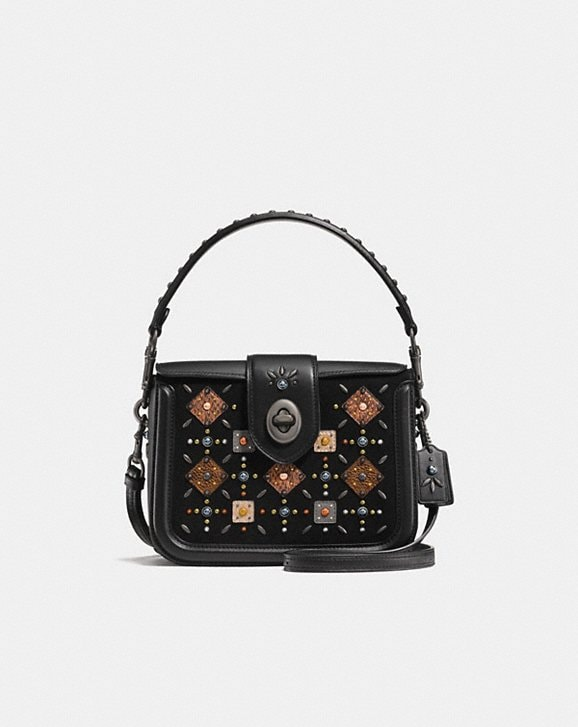 67c6f12b0f ... bag 66761 cb52e  clearance coach page crossbody with prairie rivets and  snakeskin detail a33fb c225e