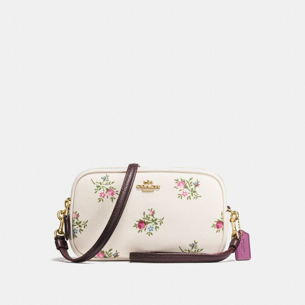 CROSSBODY CLUTCH WITH CROSS STITCH FLORAL PRINT