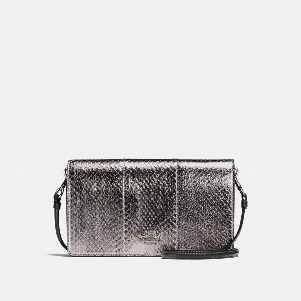 Coach Foldover Crossbody Clutch in Metallic Snakeskin