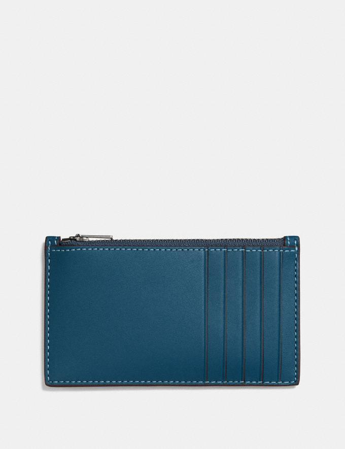 Coach Zip Card Case Denim Men Wallet Guide Alternate View 1