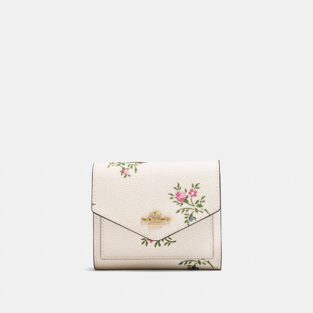 Coach Small Wallet With Cross Stitch Floral Print