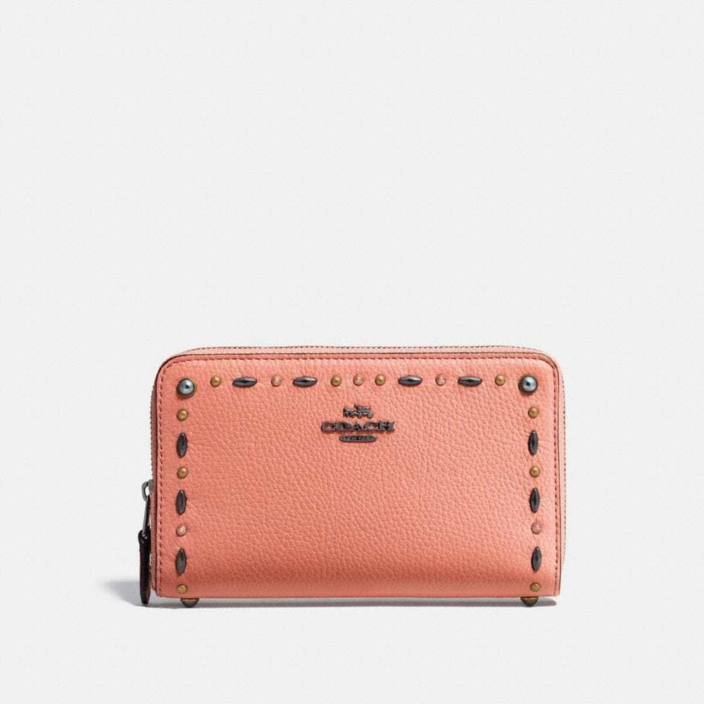 Coach Medium Zip Around Wallet With Prairie Rivets