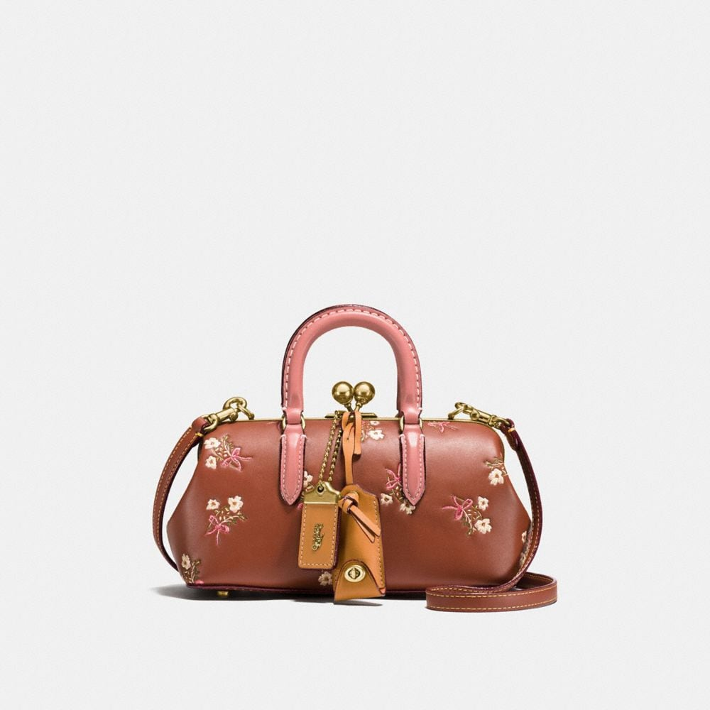 KISSLOCK SATCHEL WITH FLORAL BOW PRINT