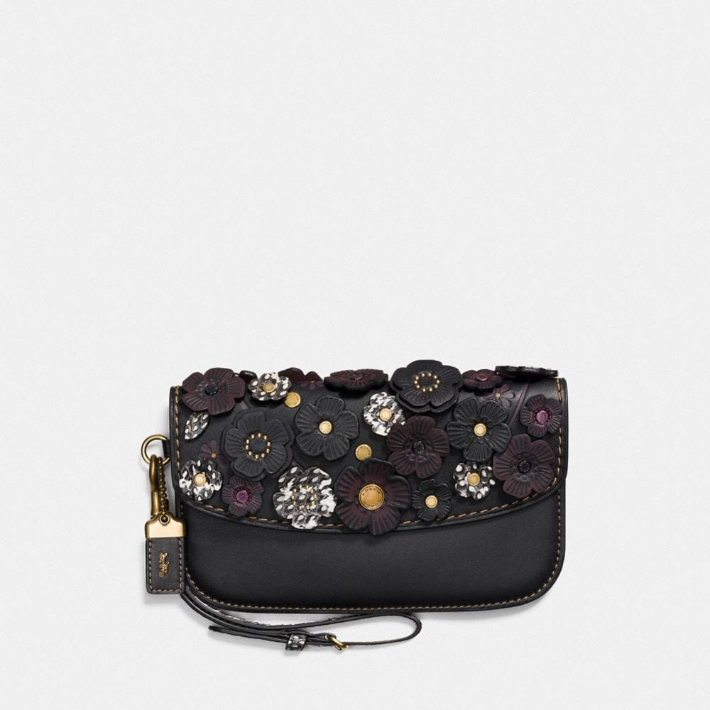 Coach Clutch With Snakeskin Small Tea Rose