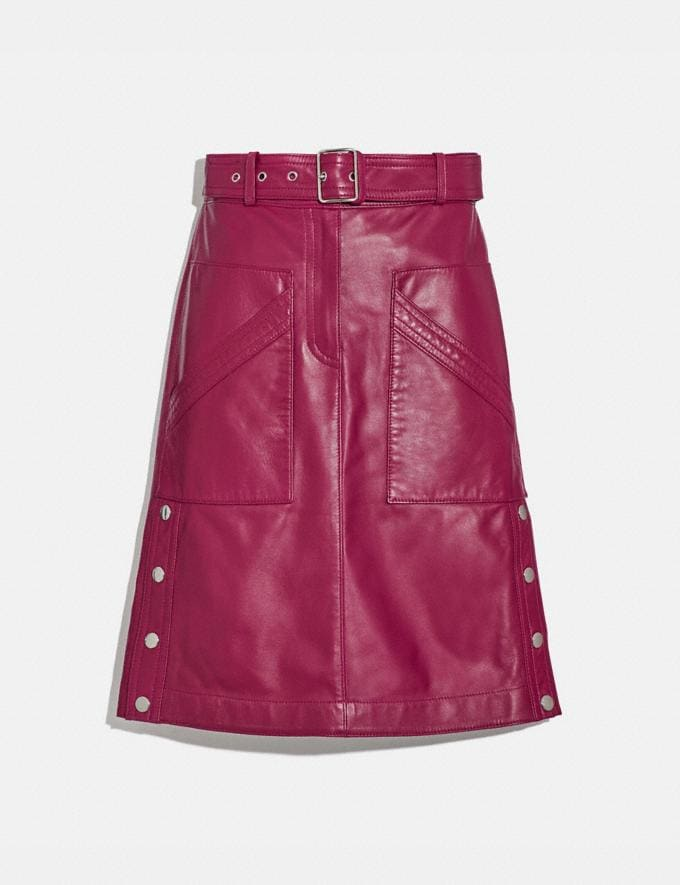 Coach Belted Leather Skirt Tweed Berry