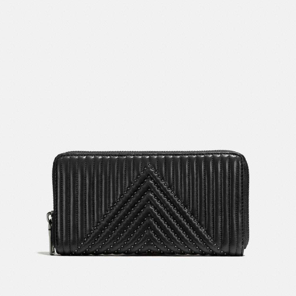 Coach Accordion Zip Wallet With Quilting and Rivets