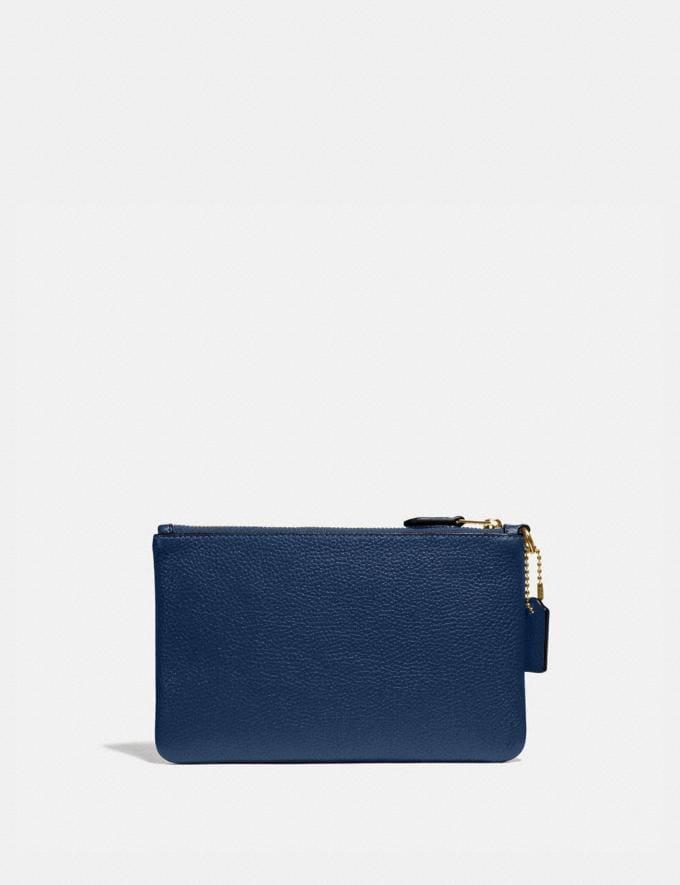 Coach Small Wristlet Brass/Deep Blue New Women's New Arrivals Small Leather Goods Alternate View 1