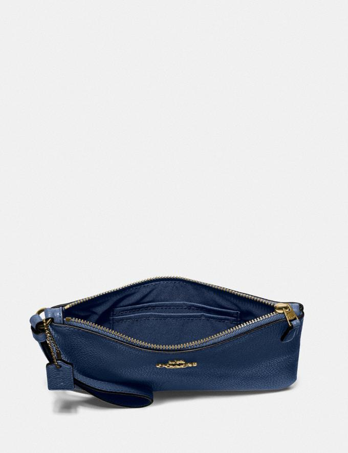 Coach Small Wristlet Brass/Deep Blue New Women's New Arrivals Small Leather Goods Alternate View 2